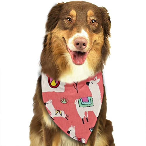 (MODREACH Bandana-Washable and Adjustable Pet Triangle Scarf Bibs Red Alpacas Llama Coral Floral Accessories for Small Medium Large Dogs/Cats)
