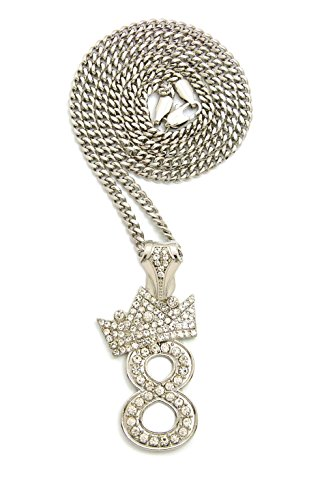 Crown Unisex Iced Out Number 0-9 Charm Pendant Necklace, 18