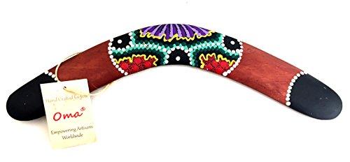 Wood Boomerang Aboriginal Australian Style Hand Painted Boomerang - LARGE SIZE - OMA BRAND (Wood Boomerang)