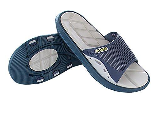 Slip On Zapatillas sandalias de ducha antideslizante zapatos de empeine casa Mule de malla piscina baño Slide para adultos Azul