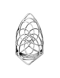 81stgeneration Women's .925 Sterling Silver Diamond Shaped Flower of Life Armour Long Ring
