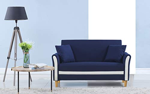 2 Tone Room - Divano Roma Furniture Modern 2 Tone Small Space Linen Fabric Loveseat (Blue)