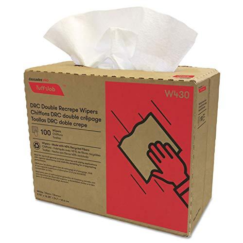 - Cascades Pro Tuff-Job Double Recrepe Wipers, 9 3/4 X 16 1/2, White, 100/Box, 8 Box/Carton