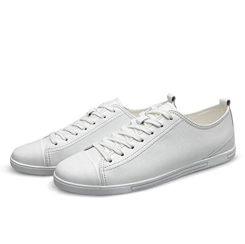 Genuine Leather Casual Shoes Fashion Men Shoes Breathable Comfortable Men Shoes Size 36~47,White,13