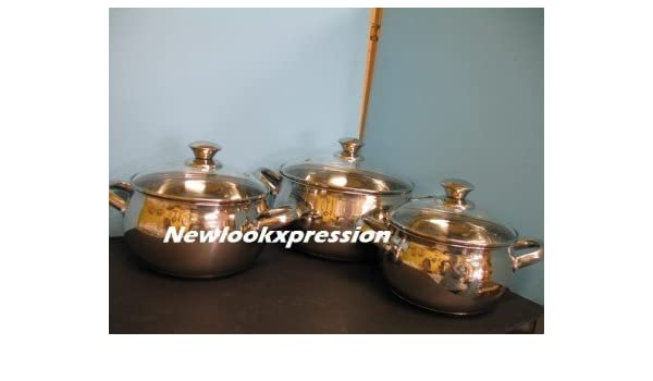 6 pc set Stainless Steel 18/10 Germany Mega cook stockpot cookware pots kitchen.