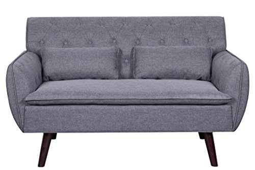 Container Furniture Direct S5298 Mid-Century Modern Upholstered Loveseat with Button Tufting and Two Pillows, Light Grey