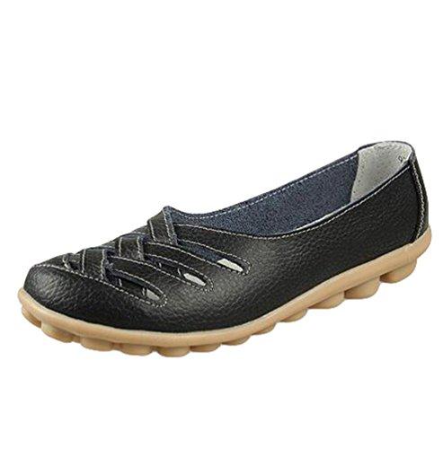 Heheja Mujer Mocasines de Cuero Hueco Loafers Casual Zapatos de Conducción Negro