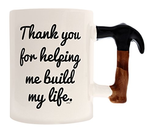 Fathers Day Gifts for Dad Hammer Handle Mug Thank You for Helping Me Build My Life Father Daughter Gifts Coffee Mug