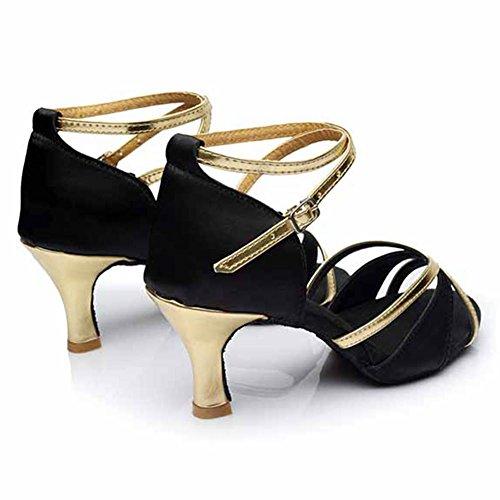 HROYL Zapatos de baile/Zapatos latinos de satén mujeres ES-805 7CM Negro