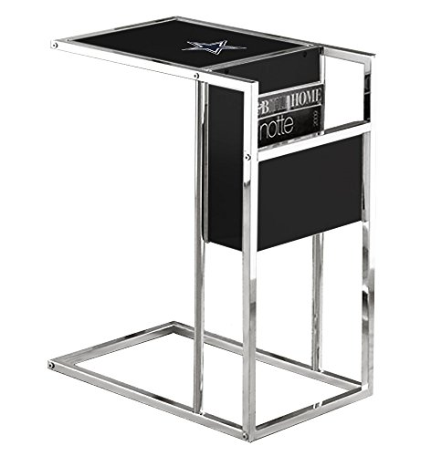 Under Glass Logo Team (New Black & Chrome Finish Slide-Under TV Tray with Glass Shelf, Magazine Rack & Your Choice of Football Team Logo! (Cowboys))