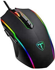 PICTEK Gaming Mouse Wired, 8 Programmable Buttons, RGB Backlit 7200 DPI Adjustable, Grip Ergonomic Optical PC Computer Gaming Mice with Fire Button