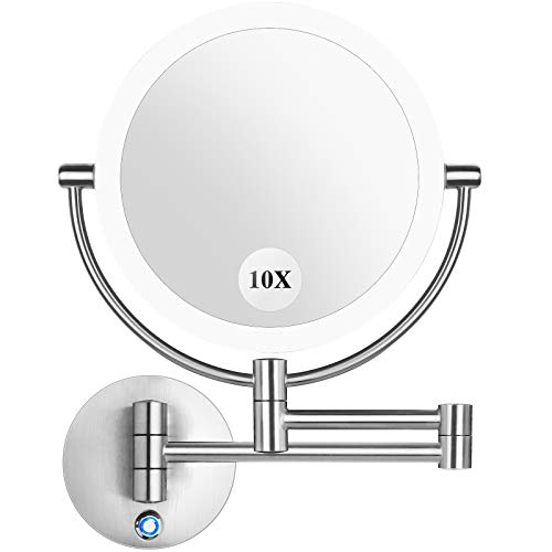 """Pansonite LED Wall Mount Makeup Mirror with 10x Magnification, 8.5'' Double Sided 360° Swivel Vanity Mirror with 13.7"""" Extension and Adjustable Light for Bathroom & Bedroom, Brushed Finished"""