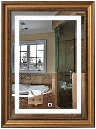 LED壁掛け照明鏡洗面所トイレスタイリッシュな暖かい白色LED内蔵色温度3000-6000K調整可能(60 * 80CM垂直)