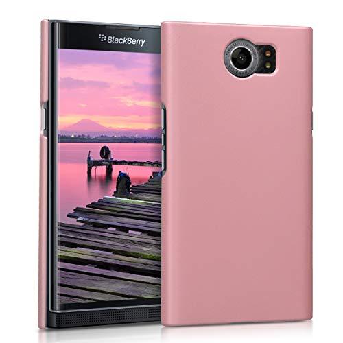 kwmobile Case for BlackBerry Priv - Hard Plastic Anti Slip Grip Shockproof Protective Phone Cover - Rose Gold Matte