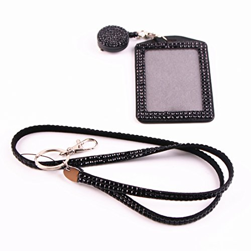UPC 711202859388, QIDUN girl Badge Holder Rhinestone Lanyard Bling Crystal Necklace Badge Card Holder for Business Id/key/cell Phone ( colorful) (black)