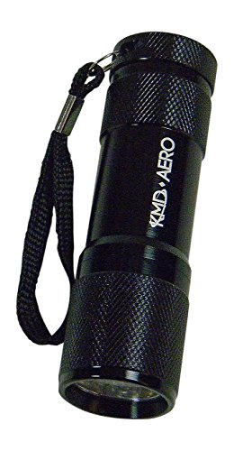 KMD Aero Red Light LED Black Aluminum Aviator Flashlight Preserves Night Vision for Aviation, Astronomy, Camping, Hunting, Turtle Watching, and - Flashlight Astronomy
