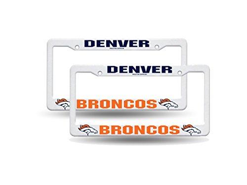 (Denver Broncos NFL Raised Lettering White Plastic (2) License Plate Frame Set)