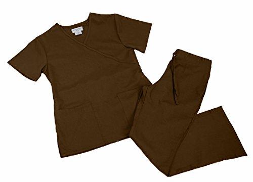 Contrast Trim Scrub Set - Mock Wrap Scrub Set (Large, Chocolate)