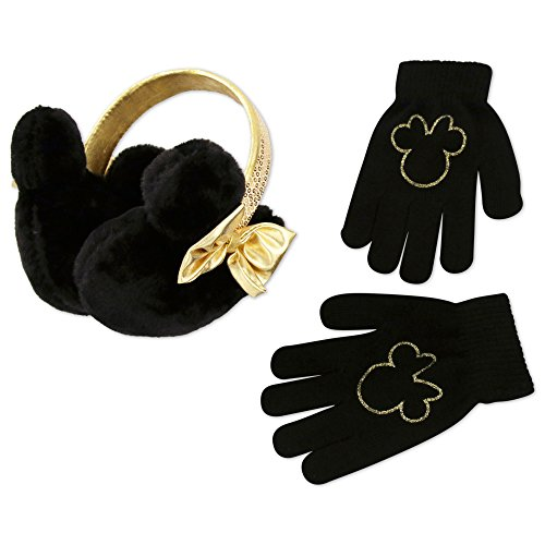 Minnie Mouse Ears And Glove Set (Disney Little Girls Minnie Mouse Plush Earmuff and Glove Set, Black/Gold, Age 4-7)