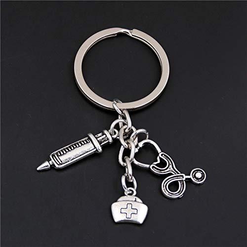 KathShop 1Pc Syringe Stethoscope Keychains Key Chain Keyring Doctor Nurse Physicians Medical LPN MA NP PA Graduation Gift Jewelry