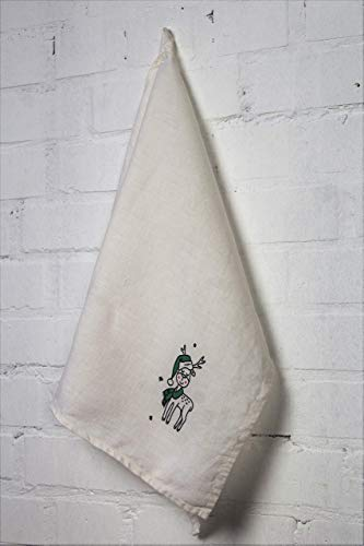 Off-white Linen Tea Towel with Print - Towel with Christmas Funny Deer – Gift idea for Home Cooks – Superb Decoration for Holiday Dining
