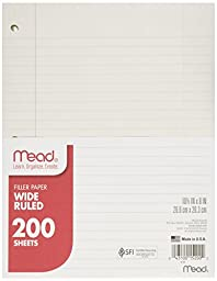 Filler Paper by Mead, Wide Ruled, 200 Sheets (15200), 5 Pack 8 x 10.5