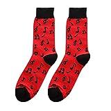 CofeeMO Novelty Printed Men's Mid Tube Socks Casual Spring Summer Fashion Cotton Socks(Red)