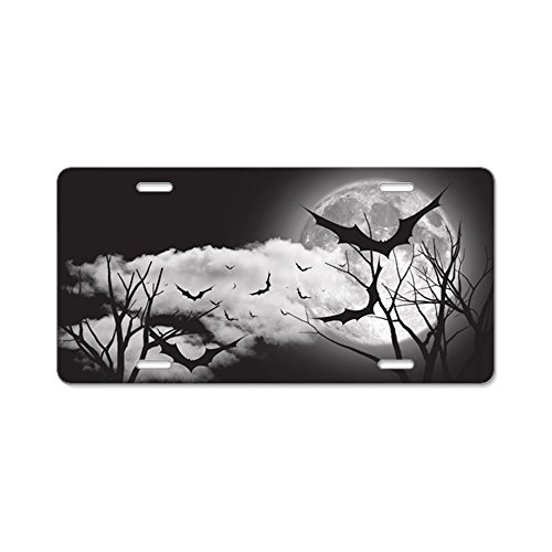 CafePress - Bats in the Moonlight Aluminum License Plate - Aluminum License Plate, Front License Plate, Vanity -