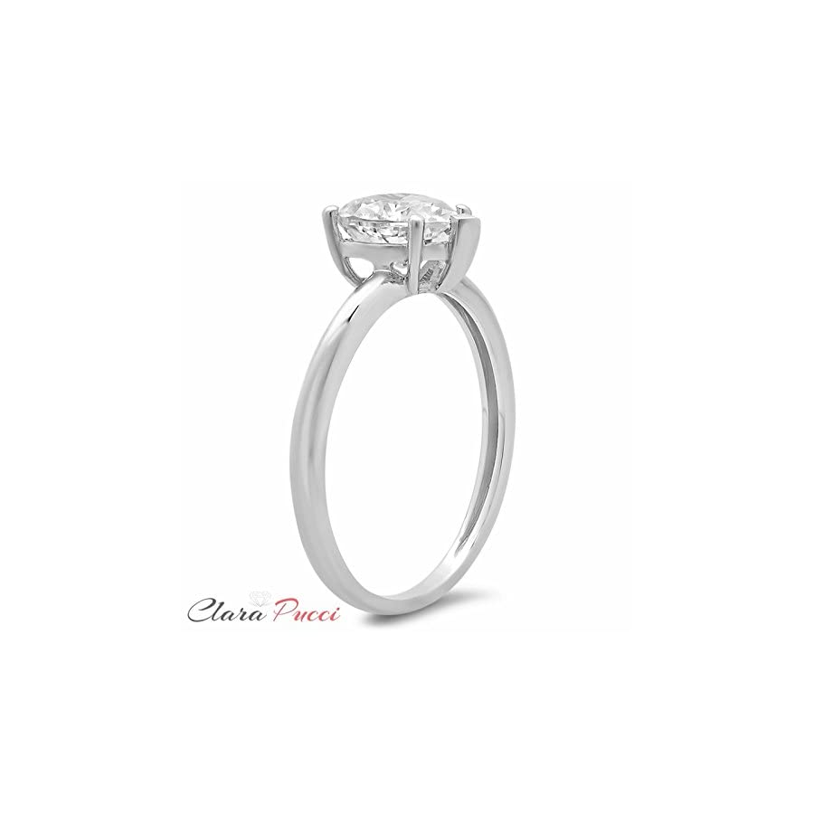 Clara Pucci Brilliant Heart Cut Solitaire Anniversary Engagement Wedding Promise Ring in Solid 14k White Gold, 1.85CT