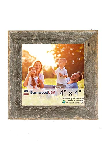 "BarnwoodUSA | Farmhouse Picture Frame, 2"" inch Molding - 100% Up-cycled Reclaimed Wood (4x4, Natural Weathered Gray) - RUSTIC FARMHOUSE 1 1/2 INCH PICTURE FRAME; Fits a 4″x4″ photograph, mount horizontally, vertically. *Viewable area is slightly smaller. — If you don't see the size you need please check our custom frame listing, copy and paste ASIN: B07QHDRFSJ into search bar for custom sizes! ENVIRONMENTALLY FRIENDLY; Crafted from 100⁒ reclaimed and recycled wood. 100⁒ MONEY BACK GUARANTEE; If you aren′t satisfied, contact us for a full refund. - picture-frames, bedroom-decor, bedroom - 41NWGOpuWmL -"