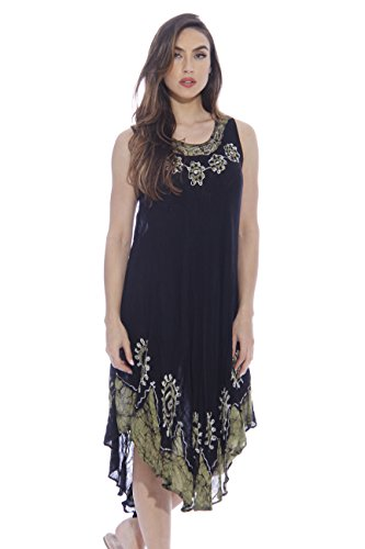 Just Love Summer Dresses Plus Size / Swimsuit Cover Up / Resort Wear, Black and Green Swirl, 3X Plus