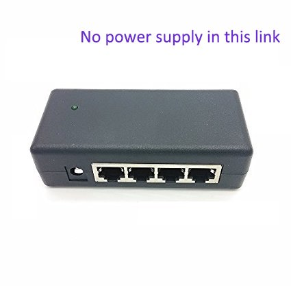 iCreatin 4 port POE power over ethernet injector Adapter for IP Camera, Access Points and more; Use with External Power Supply for Passive or 802.3af Devices-[External power supply NOT included]