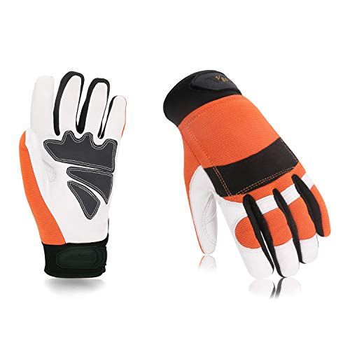 Vgo Chainsaw Work Gloves Saw Protection on Left Hand Back(1Pair,Size L,Orange,GA8912)