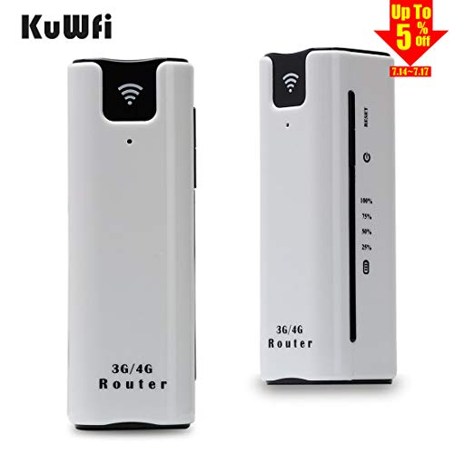 KuWFi Smart Moblie WiFi Hotspot 3G Router with sim Card Slot with Power Bank 2200Mah Portable WiFi 3G Wireless Router Support 2100MHZ Network Power Bank 3G WiFi Router with SIM - Router Wifi 3g Wireless