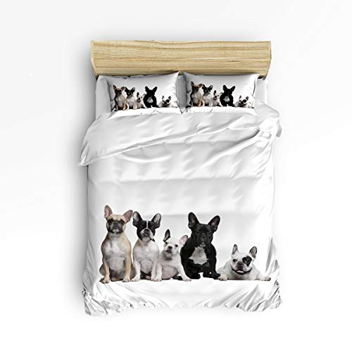 YEHO Art Gallery Queen Size Duvet Cover Set Soft Bed Sheet Set for Kids,Lovely French Bulldogs Dog Animal Pattern Bedding Sets Home Decor,4pcs Include 1 Flat Sheet 1 Duvet Cover and 2 Pillow Cases (Decor French For Country Home Catalogs)