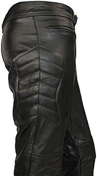Skintan Pantalon de Moto en Cuir Pour Homme Noir