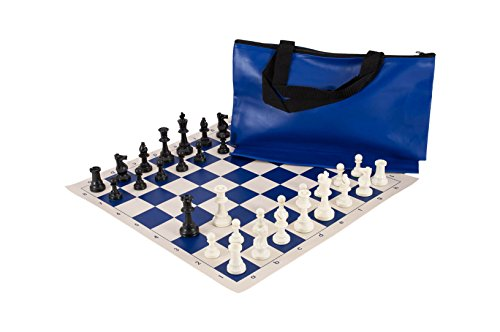 Superior Chess Set Combination - Solid Plastic - Royal Blue Bag / Board - by US Chess Federation (Superior Board Chess)