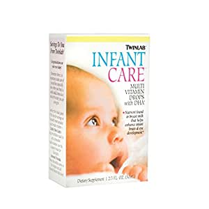 Twinlab Infant Care Multi Vitamin Drops With DHA, 1 2/3 Fl Oz. (50 ml), (Pack of 3)
