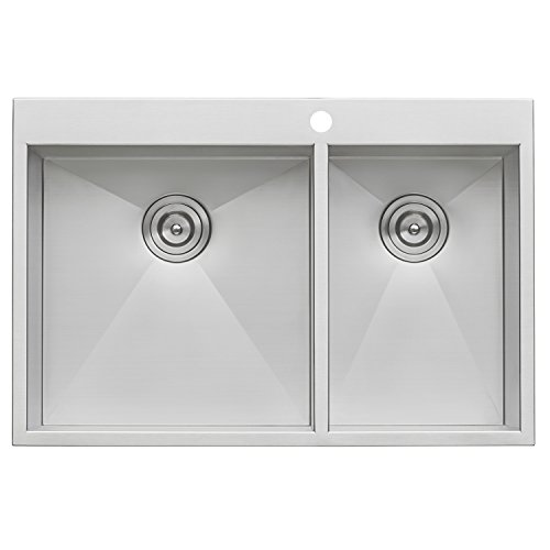 Inch 60/40 Double Bowl 16 Gauge Topmount Stainless Kitchen Sink -