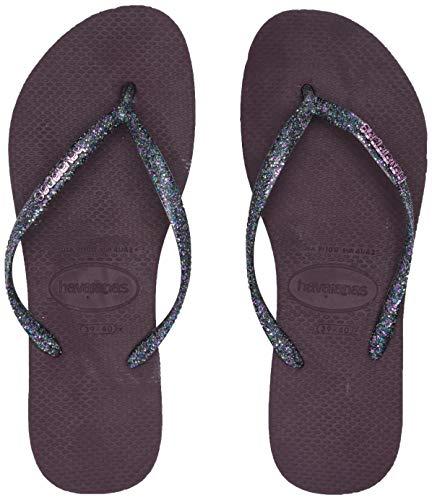 Flip Sandals Flop Logo - Havaianas Slim Logo Metallic Flip Flop Sandal, Aubergine/Silver, (7-8 M US Women's / 6-7 M US Men's)