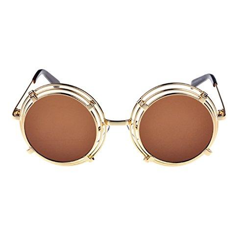 la clásica que malla marco Gafas de vidrios de Steampunk Oro redondo Marrón los UV400 de redondas del sol conduce qw078wz