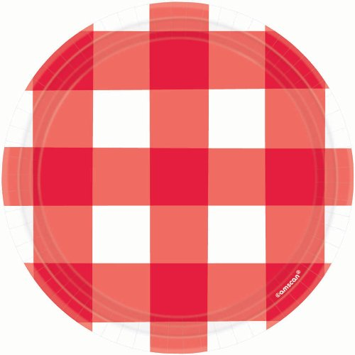 Disposable Classic Picnic Red Large Print Gingham Round Dessert Plates Party Tableware, Paper, 7