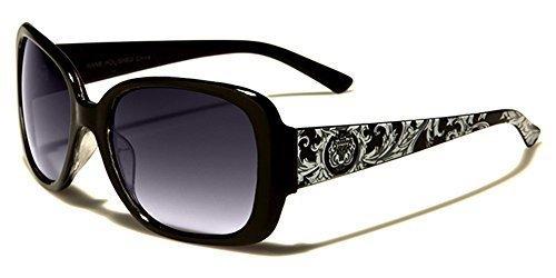 Kleo Designer femme lunettes de soleil rectangle LENTILLE dégradée parfait pour pour Sport et conduite UV400 Protection Cabine de plage lunettes de soleil microfibre poche inclus noir / verre noir