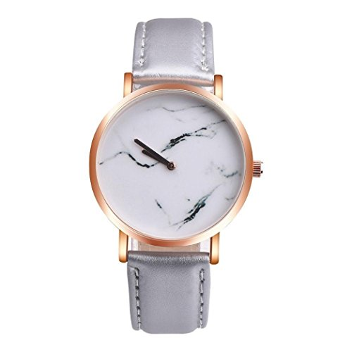 - Wensltd Unisex Scholar Cat Pattern Leather Band Analog Quartz Dial Wrist Watch (Gray)