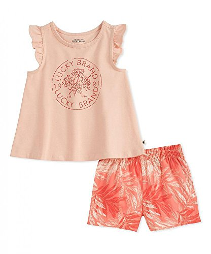 Lucky Brand Baby Girls' Infant Top Two-Piece Short Set (24 Months, Pink) by Lucky Brand