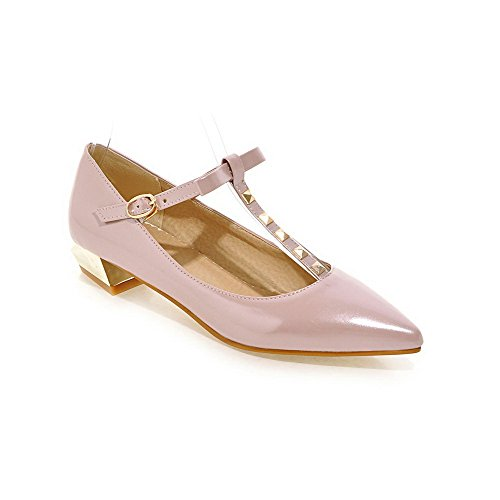 AmoonyFashion Womens Buckle Pu Pointed Closed Toe Low Heels Solid Pumps-Shoes Pink