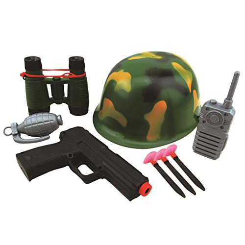Play Toy, WOLFBUSH Military Solider Role Play Boys Toy Camouflage Hat Walkie Talkie Telescope Hand Grenade Gun Bullets (Military Toy Guns)