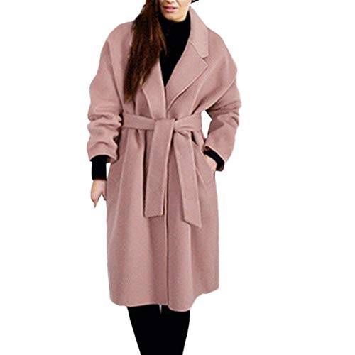 Winter Specials! Womens Lapel Wool Coat Trench Big Pocket Cashmere Long Sleeve Overcoat Outwear Jacket Plus Size (Pink, XL(Buy 1 Save 20%))