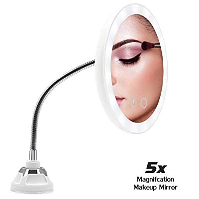 Ursulan 5X Magnifying Makeup Mirror Adjustable Flexible Gooseneck LED Light Bathroom Vanity Mirror with Suction Cup 360 Degree Swivel Perfect for Wall Mounted
