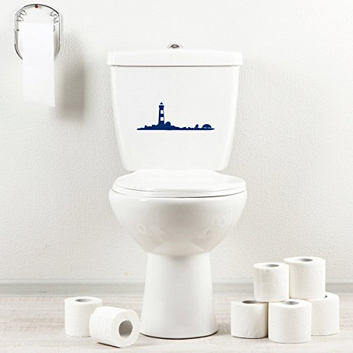 Bath Lighthouses (StickAny Bathroom Decal Series Lighthouse Long Sticker for Toilet Bowl, Bath, Seat (Navy))